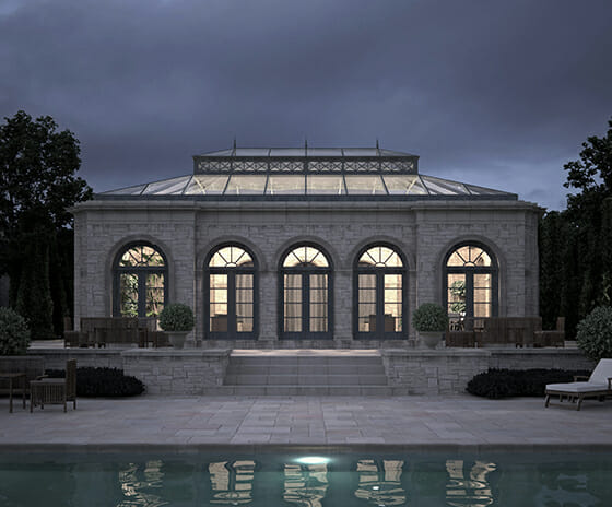 Conservatory, Featured Image, View of conservatory and pool