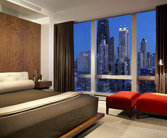 Modern Penthouse, Featured Image, View of bedroom with skyline view