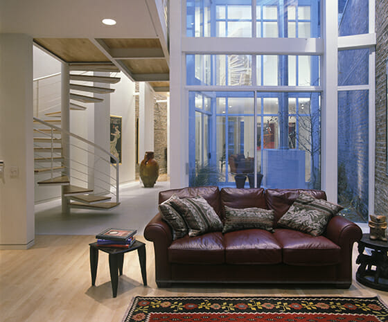 Modern Adaptive Reuse, Featured Image, Living Area with Entry Glass Wall